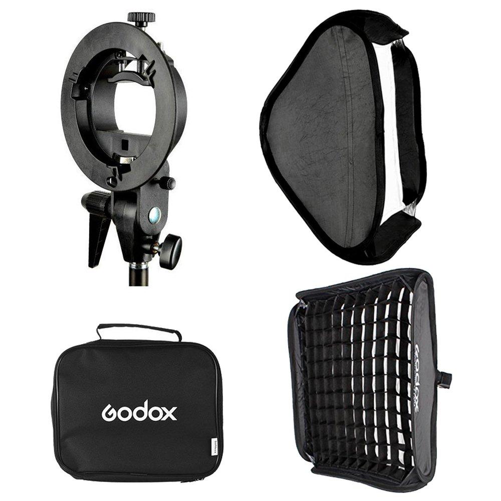 Godox 24x24inch/ 60x60cm Portable Rectangular Softbox Reflector Bowens Mount with Softbox Bag + Honeycomb Grid for Studio Strobe Photo Flash Speedlight