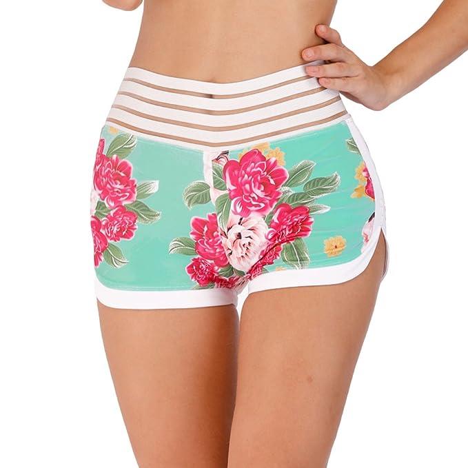 Yiiquanan Pantalón Corto Running Mujer Pantalones Cortos Deportivos Short  Estampado de Flores para Correr Fitness Yoga 7e75cd7849d78