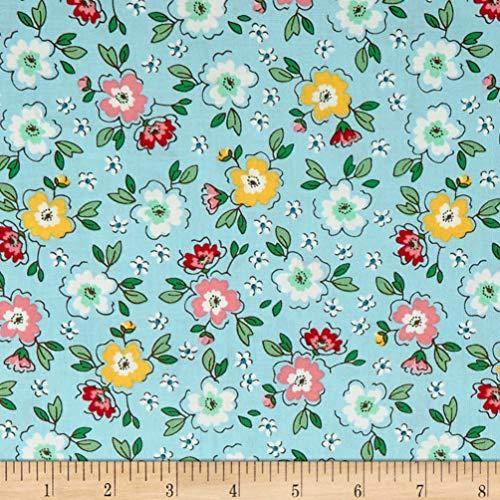 Riley Blake Designs Penny Rose Mon Beau Jardin Meadow Fabric, Aqua, Fabric By The Yard