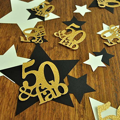 Birthday 50th Confetti (50 and Fabulous. 50th Birthday Decorations. 50 Birthday. Star Confetti. Large Table Confetti. 36CT.)