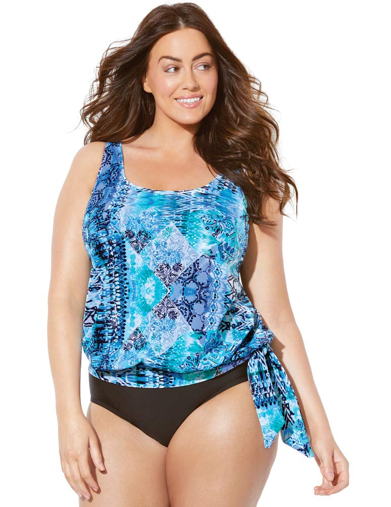 Swimsuits for All Women's Plus Size Blue Blouson Tankini ...