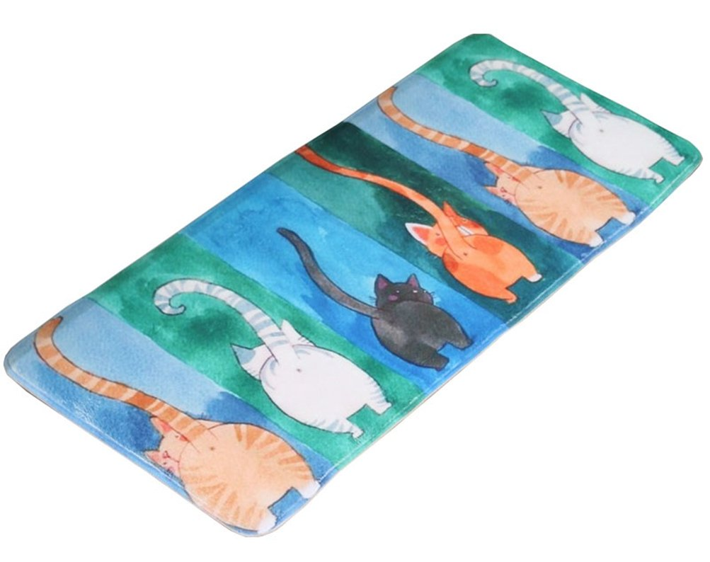 LamourBear Cat Theme Door Runner Bath Runner Rug Animal Absorption Bath Runner Memory Foam Kitchen Runner Rug Cat Non-slip Bathroom Runner 20 By 47 Inches, Watercolor