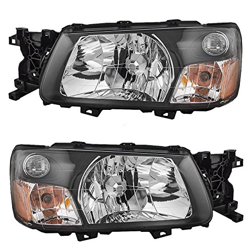 Headlights Headlamps Driver and Passenger Replacements for 2005 Subaru Forester 84001SA310 84001SA300 (Replacement Forester Headlight Subaru)