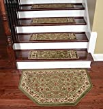 Dean Premium Carpet Stair Treads - Classic Keshan Sage 31'' W (Set of 15) Plus a Matching Landing Hearth Mat 27'' x 39'' (2x3)