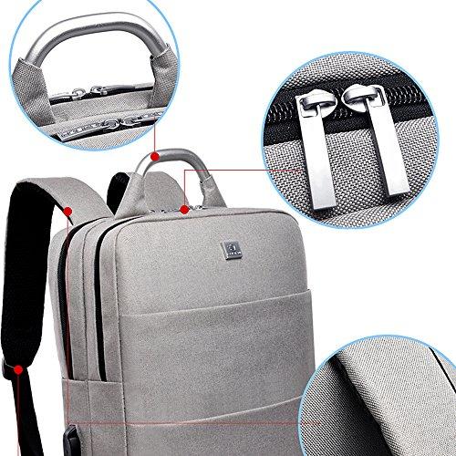 Sac 6 Inrayable dos port D'affaires Inch portable Femelle a Ordinateur 15 Loisir charging Durable Sac école Homme Voyage Cartable Violet Usb Gris Nclon w0x6nqpv0