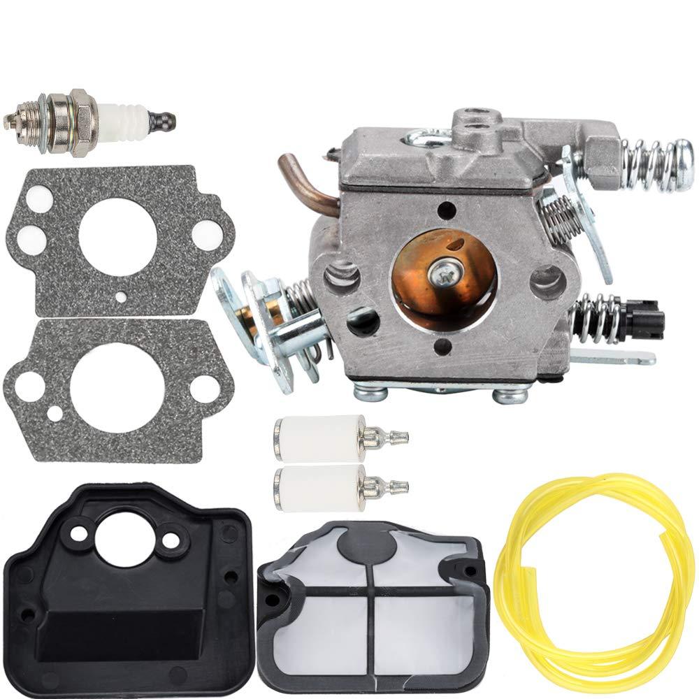 Carburetor Air Filter Fuel Line Spark Plug Parts Kit for Husqvarna 36 41 136 137 137E 141 142 141LE 142E Husky Saw Zama C1Q-W29E Carb WT-834 WT-657 WT-529 WT-289 WT-285 WT-239 WT-202 Engine Chainsaw by Kuupo