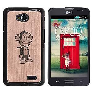 - / Funny Monkey Ape Comic Cartoon - - Funda Delgada Cubierta Case Cover de Madera / FOR LG Series III L70 / Jordan Colourful Shop/