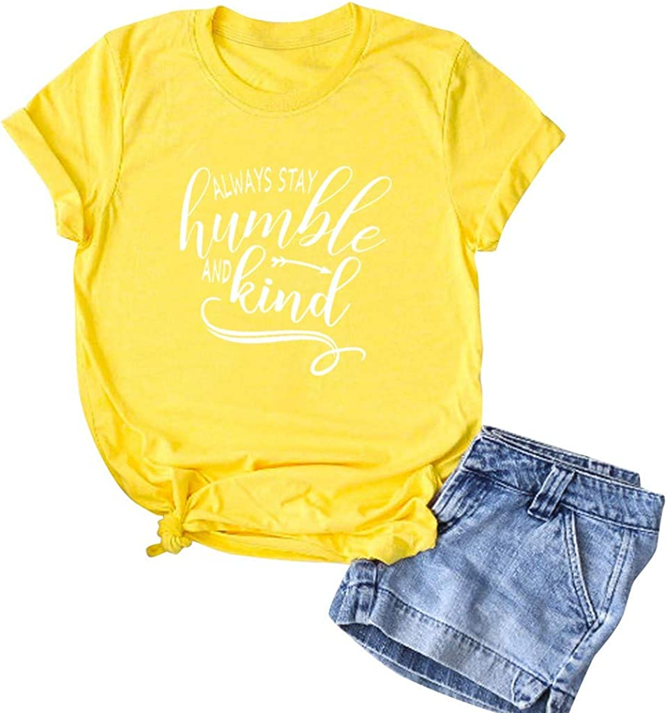 Womens T Shirt Casual Cotton Short Sleeve Tee Shirts Funny Inspirational Kind Tshirt Cute Graphic Blessed Shirt Blouse