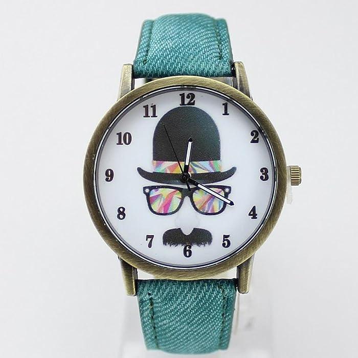 La belleza de la juventud de regalo de estilo Casual correa de tela de la tela de bigote del sombrero de los relojes de pulsera para los hombres de las ...