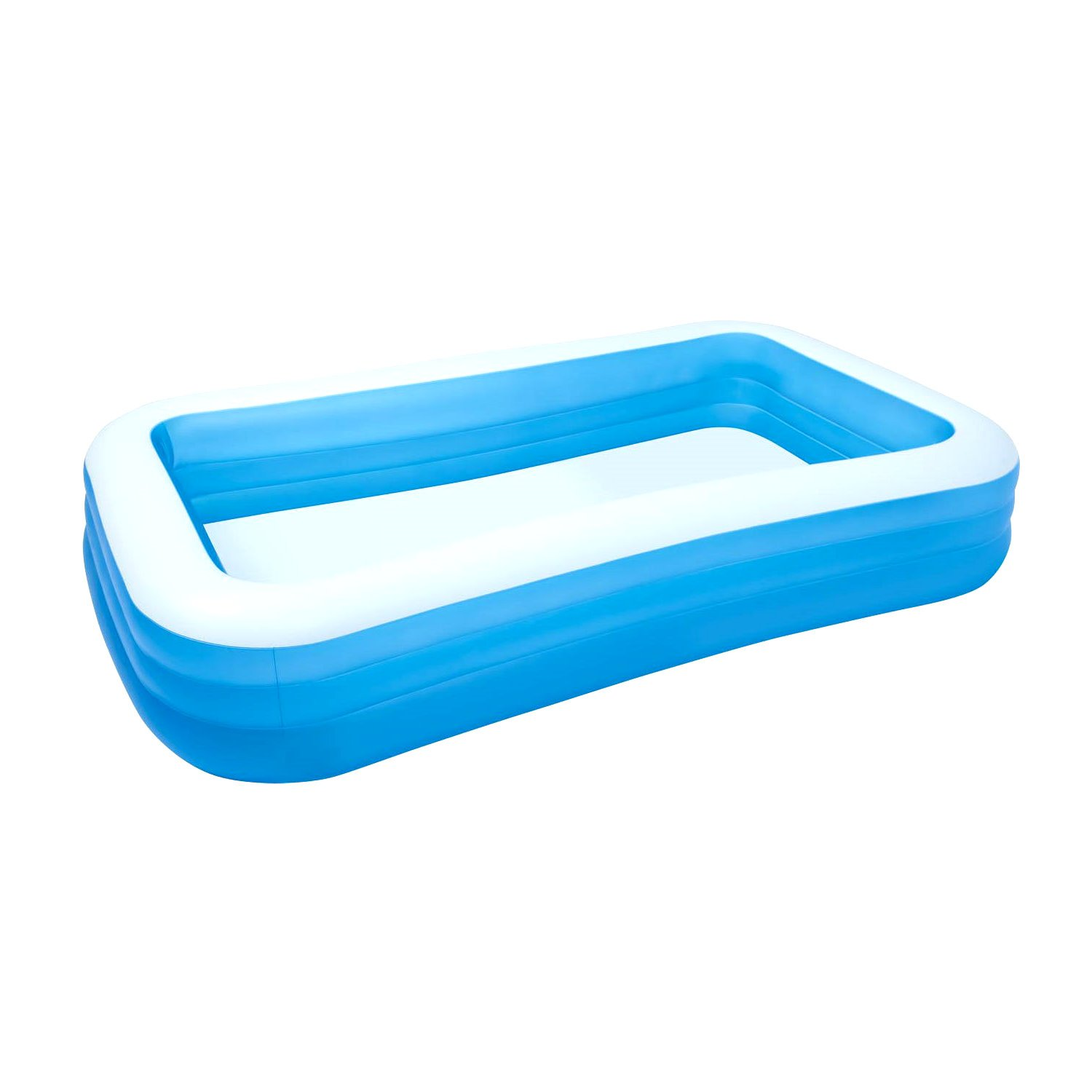 Kids-Inflatable-Pool. This Kiddie Blow Up Above Ground Swimming Pool Is Great For Toddlers, Children To Have Outdoor Water Fun With Slide, Toys, Floats. Family Lounge Center 120'' x 72'' x 22''.