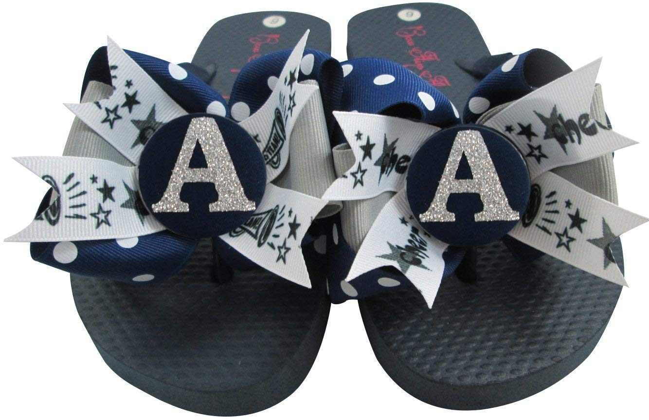 e7a8ec5f6fc4 Amazon.com  Cheerleading Bow Flip Flops with Customized Ribbon   Initial  Glitter Colors  Handmade