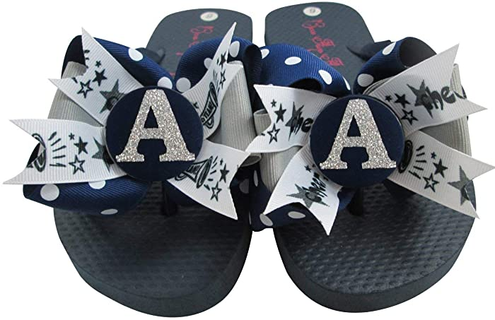 9185db656d311 Image Unavailable. Image not available for. Color  Cheerleading Bow Flip  Flops with Customized ...