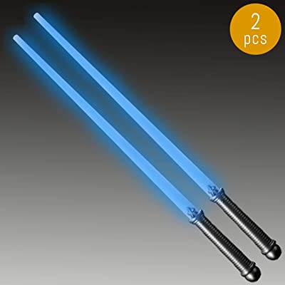 Lumistick LED Light Saber Sword | Lightsaber Glowing Swords Realistic Toy Expandable Spinning Ball (Blue, 2 Swords): Toys & Games
