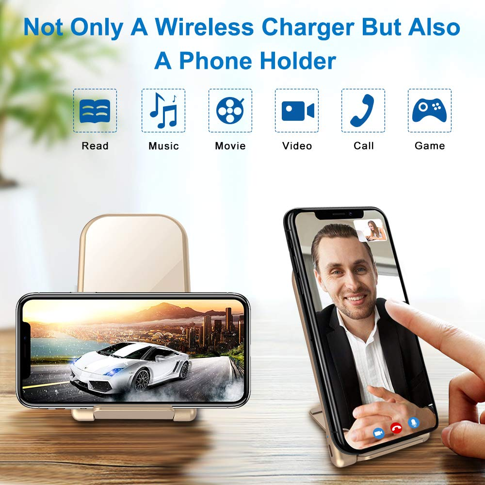 KZY Fast Wireless Charger Stand, QI Certified Wireless Charger Compatible for iPhone X/XR/8/8+,Folding Wireless Stand Charger for Galaxy S9/S9+ S8/S8+ S7/S7 Edge, Golden (with QC 3.0 AC Adapter)