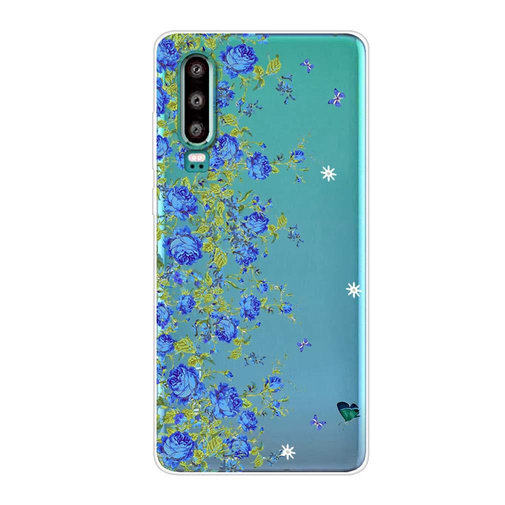 Karomenic kompatibel mit Huawei P30 Lite Silikon H/ülle Kreative Cartoon Transparent Handyh/ülle Durchsichtig Schutzh/ülle Crystal Clear Weiche Soft TPU Tasche Bumper Case Etui,Flamingo