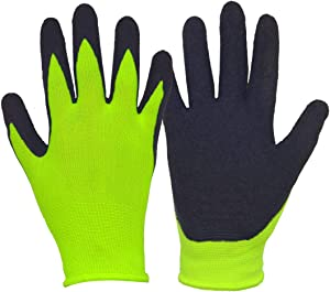 Kids Gardening Gloves for Age 3-13, Children Garden Gloves with Rubber Coated Palm, Landscaping &Yard Work Gloves for Boys Girls (Size 5, Yellow/Black)