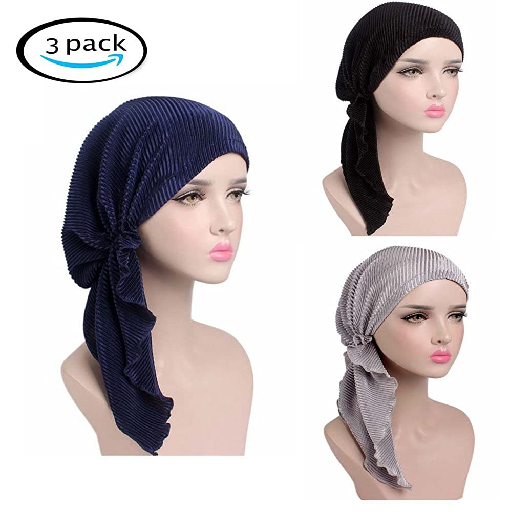 Amazon.com  Chemo Caps Women Hats Ruffle Head Scarfs Pre-Tied Cancer  Headwear 5bfa3f7bd745