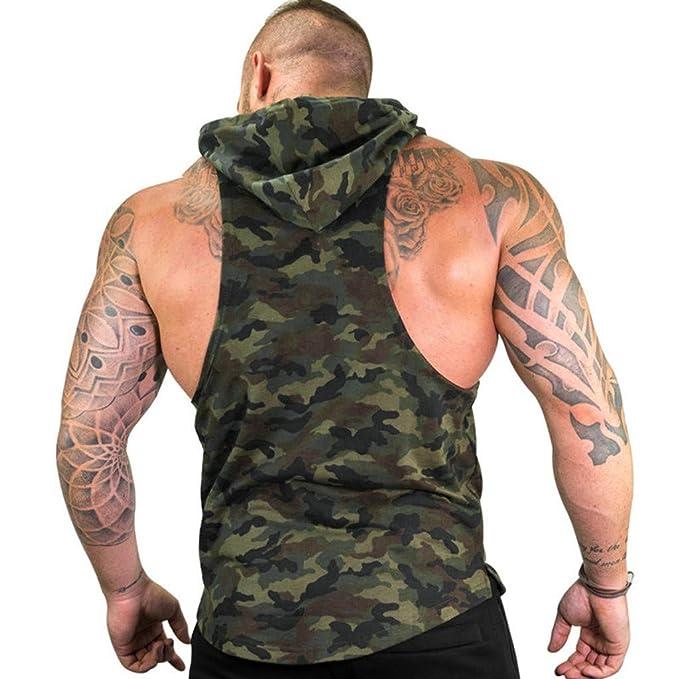 TTINAF Men Hoodie Sport Tank Tops Sleeveless Camouflage Fitness Sport Vest Racerback Workout Blouse