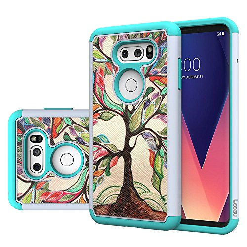 (LG V30 / LG V30 Plus/LG V30S ThinQ/LG V35/ LG V35 ThinQ Phone Case, LEEGU [Shock Absorption] Heavy Duty Protective Silicone Plastic Cover Rugged Case for LG V35 ThinQ - Love Tree)