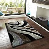 ~8 ft. x 11 ft. Gray and Black with Design Area Rug, On Sale! Shaggy Viscose Collection
