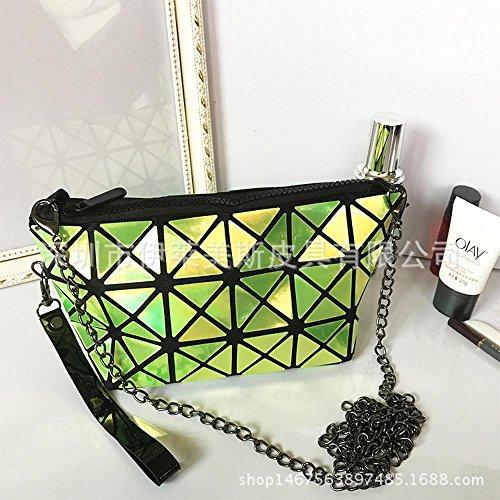 Aoligei Fashion géométrie losange chaînes chaîne sac à main de sac à bandoulière unique laser PU armer portefeuille 0 C