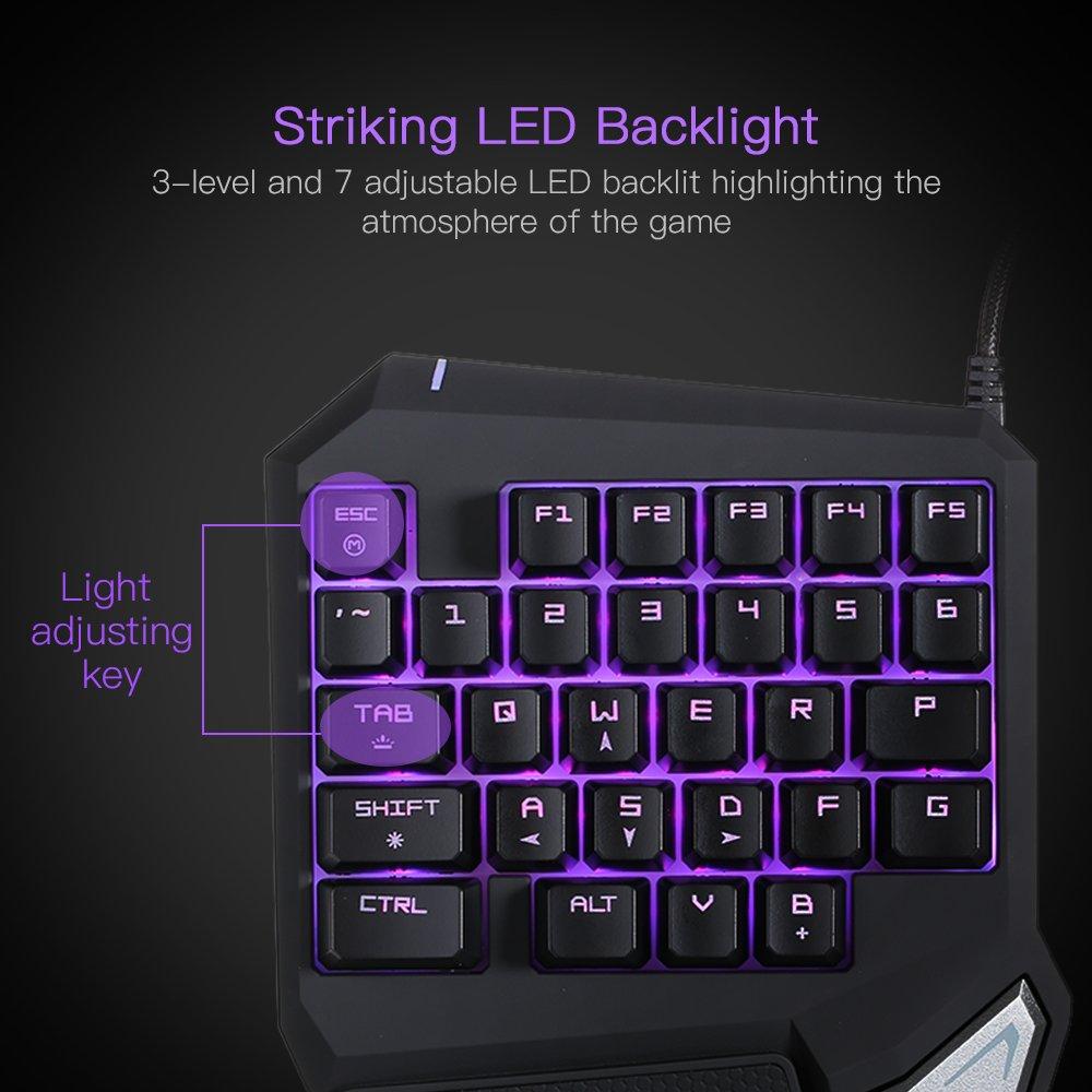 KKmoon Delux T9 Pro Gaming Teclados Profesionales por una Mano USB Teclados 29 Key LED Retroiluminado para LOL//PUBG
