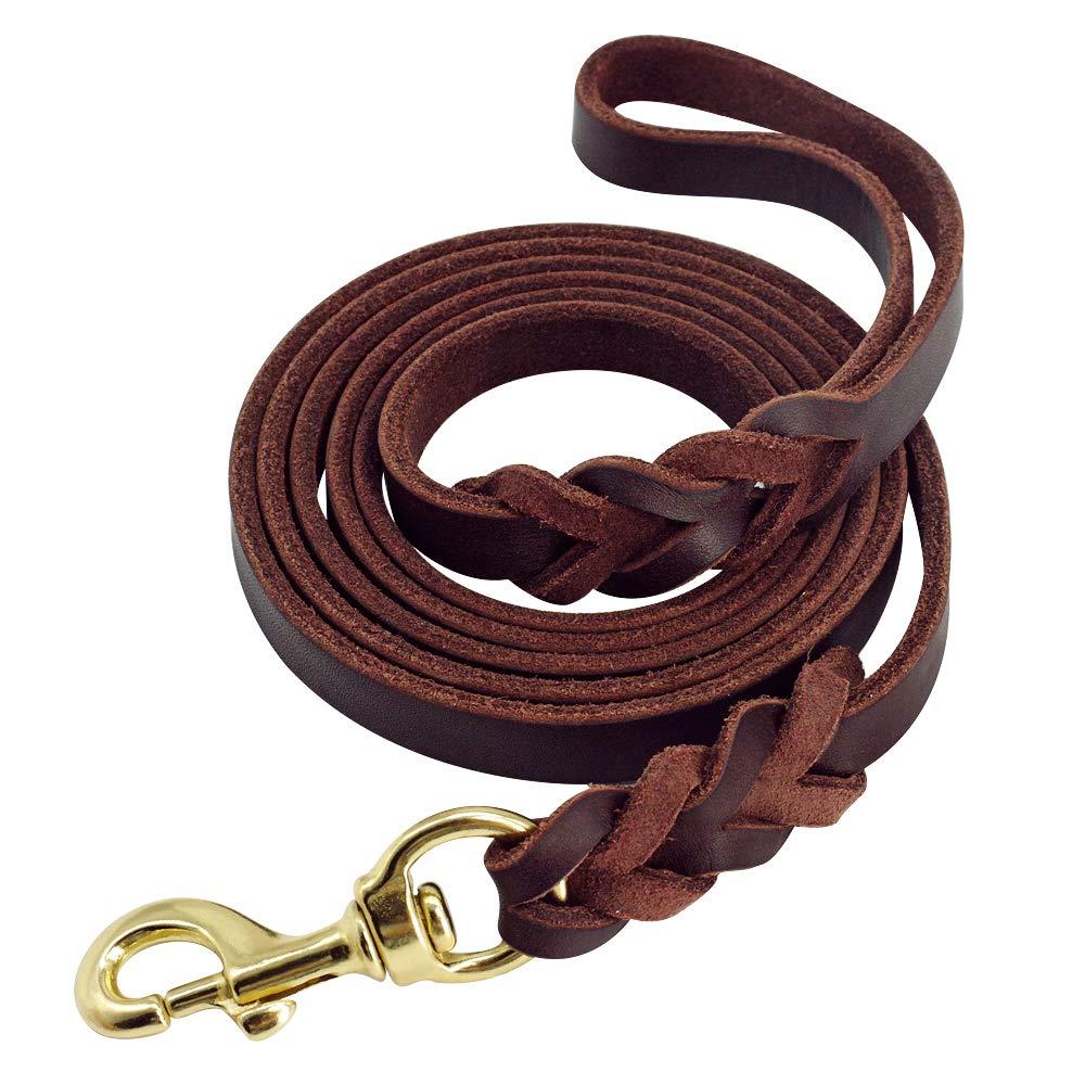 Beirui Leather Dog Leash - Training & Walking Dog Leash - Braided 3.6 ft by 3/4 in (110cm 1.8cm) - Latigo Leather Brown