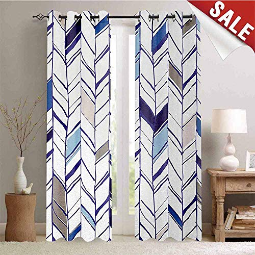 Daisy Pearl Chandelier Shade - Hengshu Navy Room Darkening Wide Curtains Tribal Zigzag Lines Pattern in Various Shades Geometric Boho Sketch Print Decor Curtains by W84 x L108 Inch Sky Blue Grey Tan Pearl