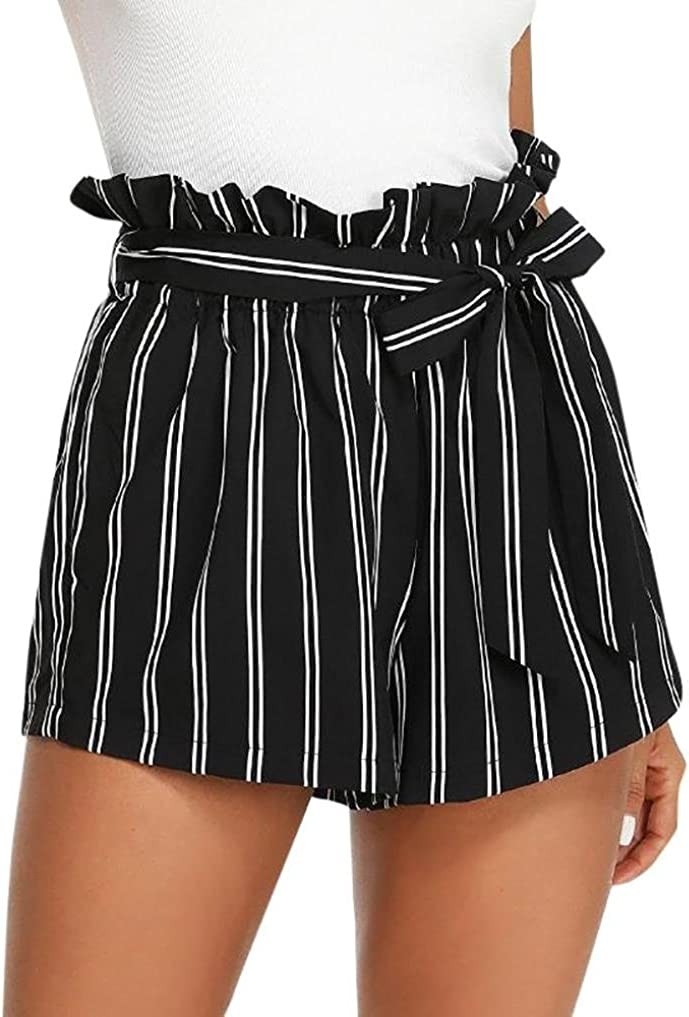 Sothread Womens Casual Elastic Waist Striped Summer Beach Self Tie Shorts with Pockets