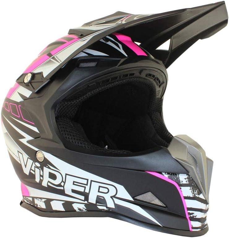 VIPER RSX121 SUPERCROSS ENDURO ROSA MUJER CASCO ECE APROBADO MOTOCICLETA MINI PIT TRAIL DIRT BICI M 57-58 CM