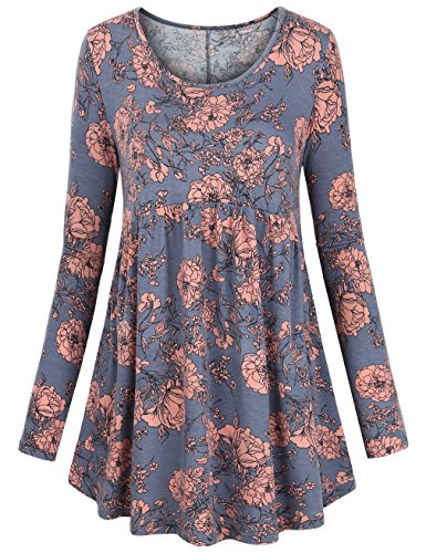 - FANSIC Women Floral Tops,Long Sleeve Empire Waist A Line Flowy Tunics Blouses (Large, Gray and red)