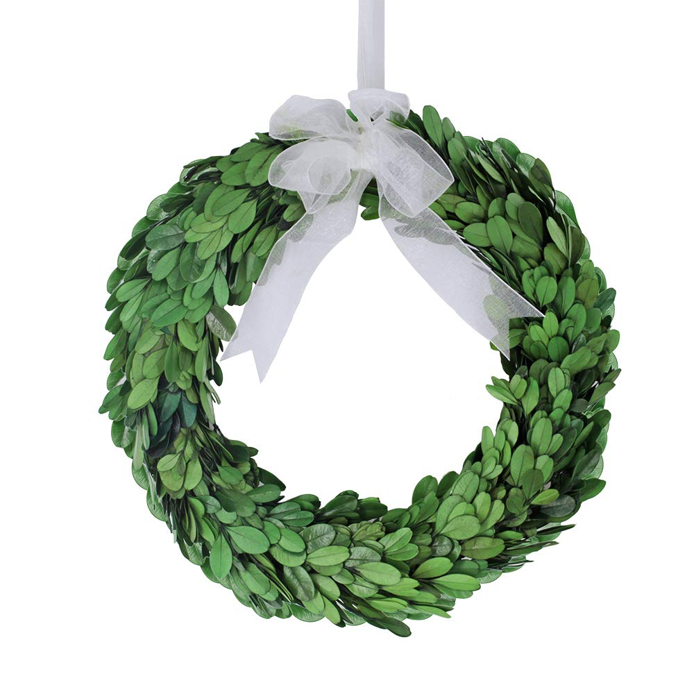 besttoyhome 10'' Wide Round Preserved Boxwood Wreath in Green Bow (10 inch)