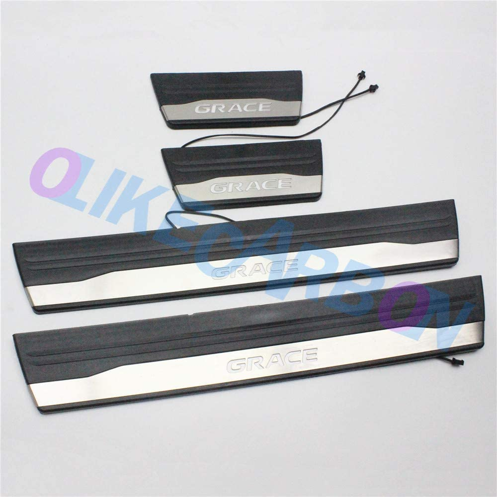 For HONDA None Nsx Nwgn Odyssey Pilot Door Sill Protector Reflective 4D Carbon Fiber Sticker Door Entry Guard Door Sill Scuff Plate Stickers Auto Accessories 4Pcs Blue