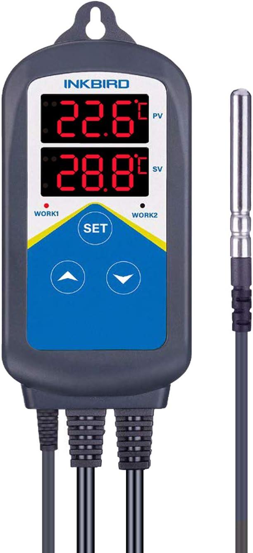 Inkbird ITC-306T Termostato Digital Control de Temperaturas con Sondas para Calefacción (no refrigeración), Temporizador Bucle de 24 Horas Día&Noche para Acuarios, Reptiles Terrarios, Plantas de I