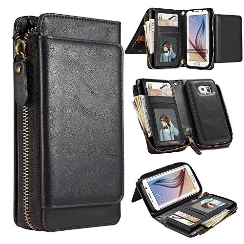 cheap for discount 26e7e 04ccf Galaxy S6 Edge Case, BYLIDE 2 in 1 PU Leather Wallet Purse Case Magnetic  Removable Phone Cover [Wrist Strap] with ID&Credit Card Pockets Cover Cases  ...