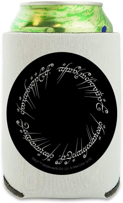 Lord of the Rings Mordor Script Can Cooler - Drink Sleeve Hugger Collapsible Insulator - Beverage Insulated Holder
