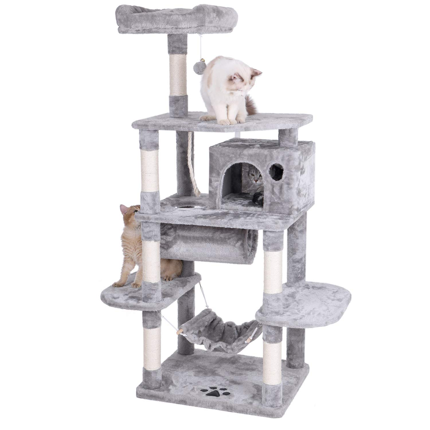 BEWISHOME Cat Tree with Sisal Scratching Posts Perch House Hammock Tunnel, Cat Tower Cat Condo Furniture Kitten Activity Center Pet Play House Kitty Playground, Light Grey MMJ02G by BEWISHOME