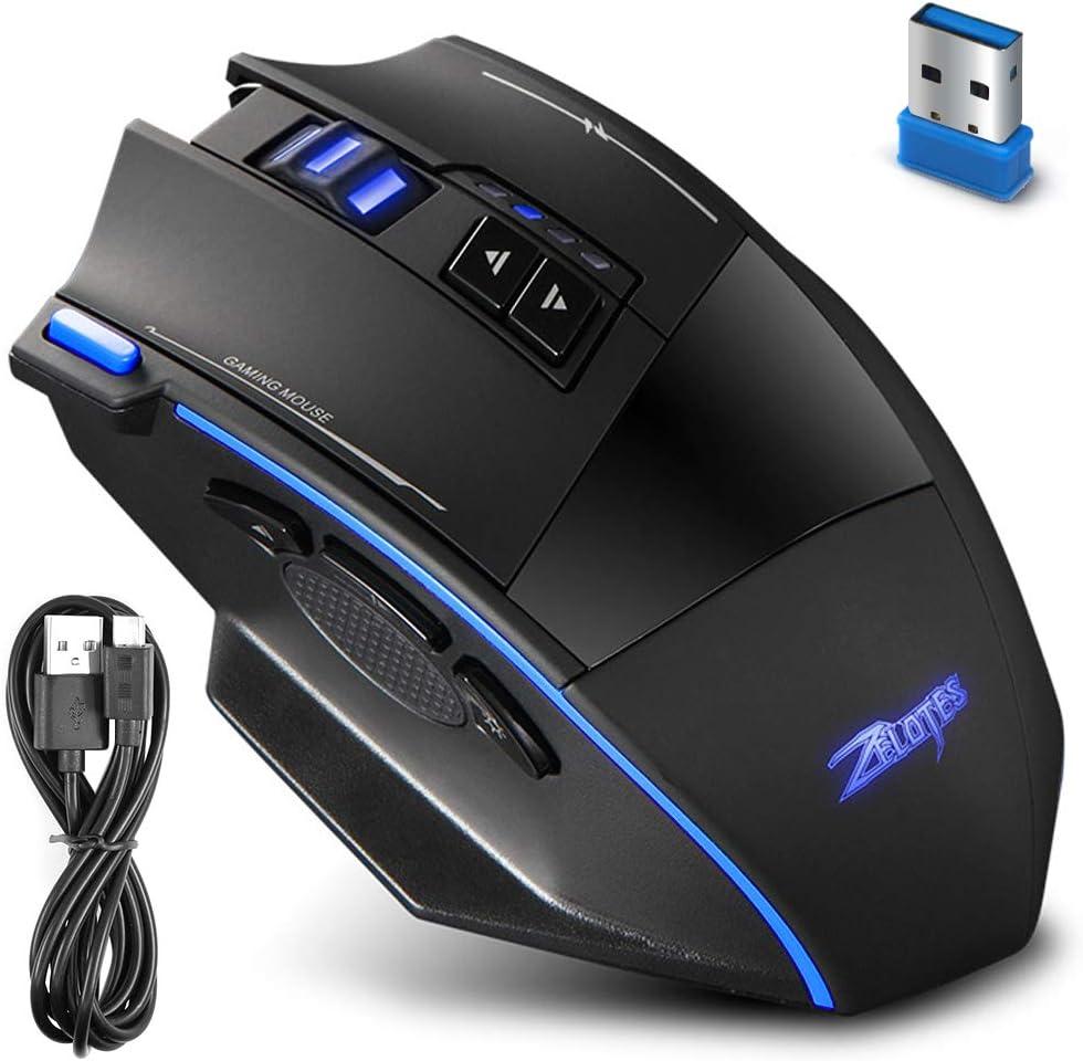 Zelotes AFUNTA Ratón óptico Inalámbrico, F15 2.4Ghz Wireless Mouse Ratón para Gaming Profesional 2500 dpi Ajustable 9 Botones del Ratón del Ordenador óptico con Luces LED para PC Mac Pro Gamer