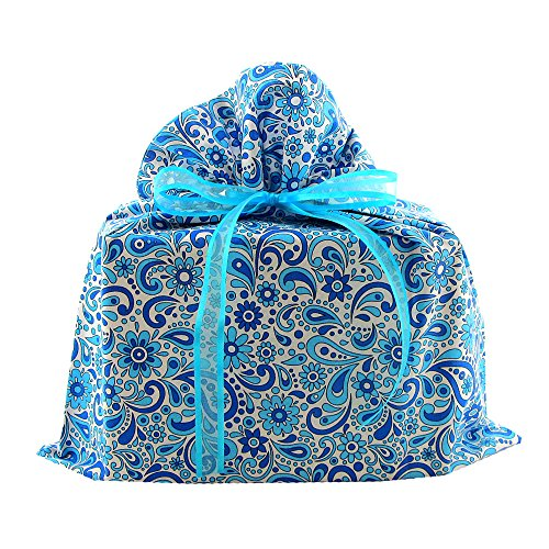 Reusable Fabric Gift Bag with Flowers and Swirls for Bridal Shower, Wedding Gift, Mother's Day or Any Occasion (Blue, Medium 17 Inches Wide by 18.5 Inches High)