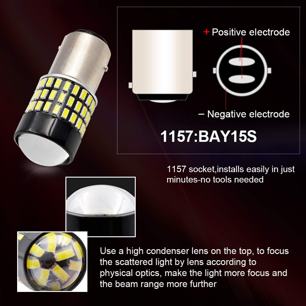 1157 BAY15D LED Bulb SAFEGO 2 PCS 6000K 5W Car Reverse Rear Turn Signal Parking Light 54SMD 3014 P21W White Lamp 12V Non-canbus,1 Year Warranty