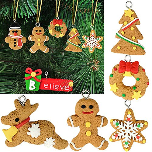 CHoppyWAVE 6Pcs Christmas Hanging Ornament with Rope Gingerbread Snowflake Snowman Elk Tree for Xmas Tree Window Door Party Decor