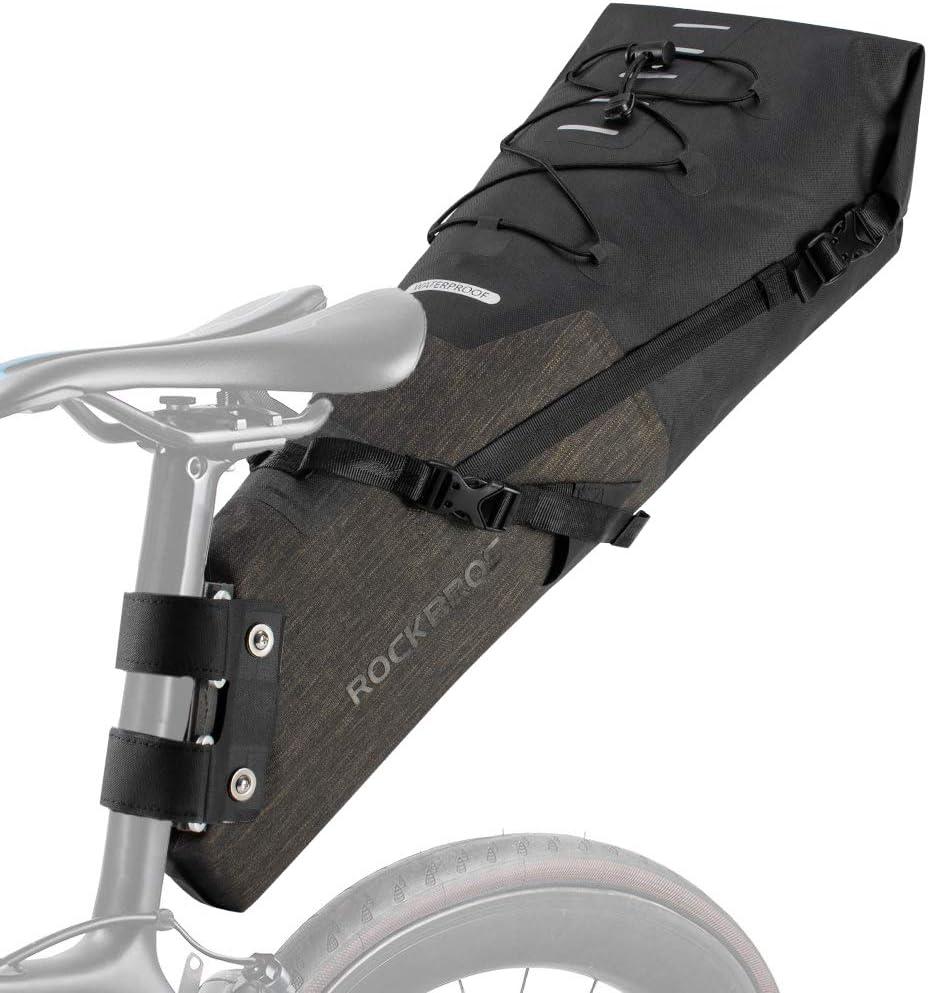 RockBros Bikepacking Bags Large Bike Saddle Bag Waterproof Bike Bag Under Seat Roll Up Pack for Mountain Road Bicycle Accessories Black