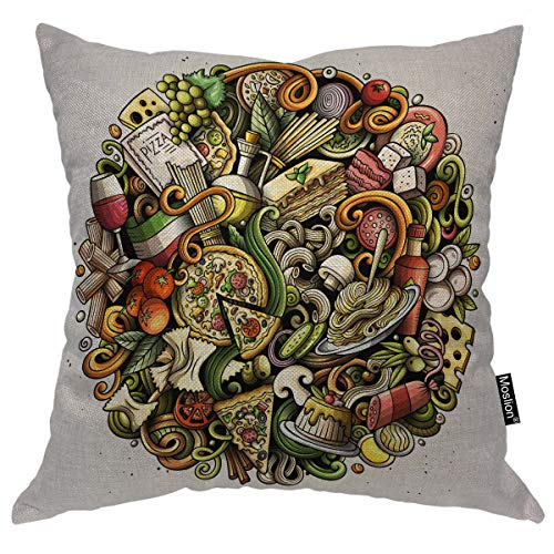 Moslion Doodle Pillows Italian Junk Food Circles Noodle Mushroom Wine Cheese Pasta Pizza Throw Pillow Cover Decorative Pillow Case Square Cushion Accent Cotton Linen Home 18x18 Inch]()