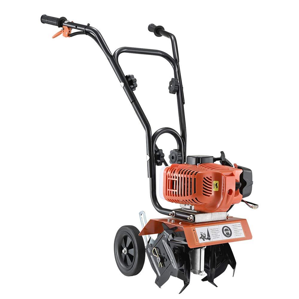 MissSnower 52cc Garden Tiller Commercial Petrol Powered Soil Cultivator Rotavator Tool 1.65kW 2-Stroke Air Cooled Engine