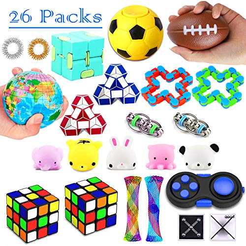 26 Pack Sensory Toys Set, Fidget Toys Pack Stress Relief Hand Toys for Adults Kids ADHD ADD Anxiety Autism - Perfect for Birthday Pinata Fillers, Classroom Treasure Box Prizes and Carnival Games]()