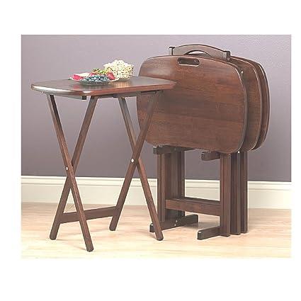 Bon Snack Tray Table Set Of 4 Stand TV Oversize Portable Laptop Wood Rustic  Farmhouse Foldable U0026