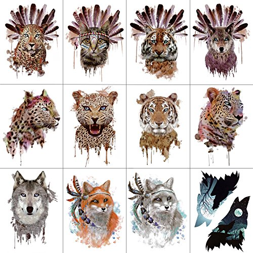 WYUEN 12 PCS/lot Wolf Temporary Tattoo Sticker for Women Men Fashion Body Art Adults Waterproof Hand Fake Tatoo 9.8X6cm FW12-01 (Leopard)