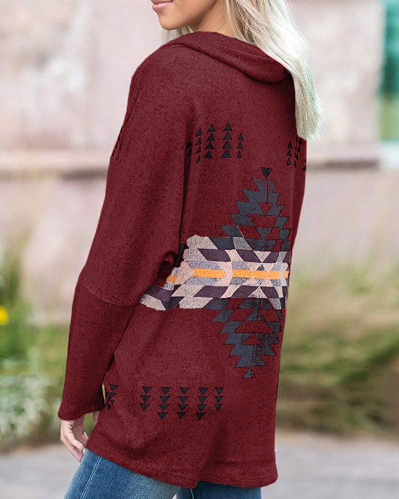 Womens Sweatshirt Off The Shoulder Cowl Neck Pullovers Fall Long Sleeve Aztec Tunic Tops