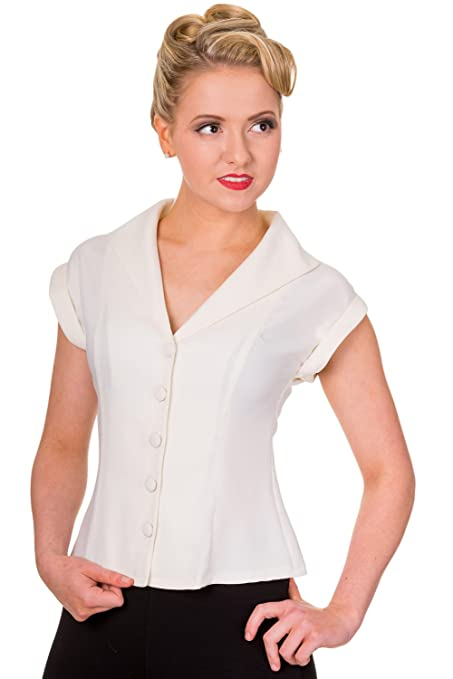 1950s Rockabilly & Pin Up Tops, Blouses, Shirts Banned Dancing Days Dream Master Vintage 40s 50s Retro Smart Blouse Shirt Top £21.99 AT vintagedancer.com