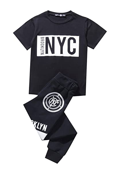 Boohoo Kids Boys Nyc Brooklyn T Shirt Jogger Set In Black Size 9